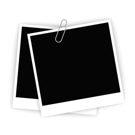 photo frame: set of empty frames for photos associated by paper clip Illustration