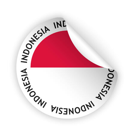 white bent sticker with flag of the indonesia