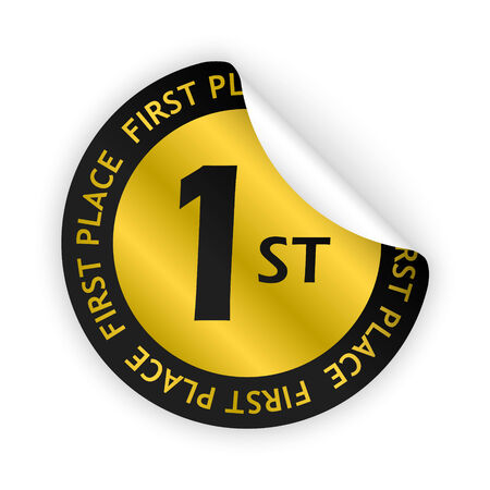 the place is important: gold bent sticker with first place sign