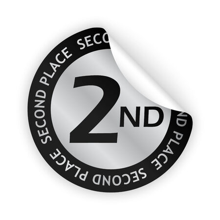 contestant: silver bent sticker with second place sign Illustration
