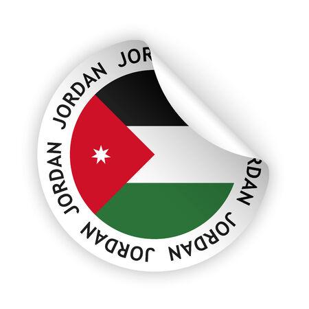 jordanian: witte gebogen sticker met de vlag van de Jordaan