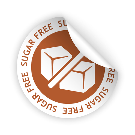 harmless: white bent sticker with symbol of sugar free Illustration