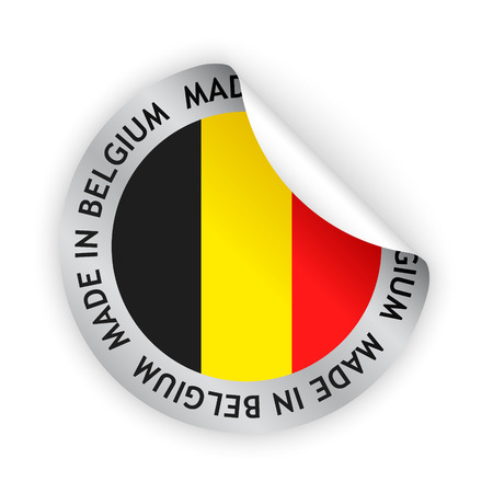 Vector white bent sticker with flag of the belgium and sign made in belgium vector