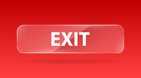 glass reflection: vector red glass button with white sign exit and reflection Illustration