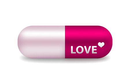 vector pink and white pill of love with light shadow