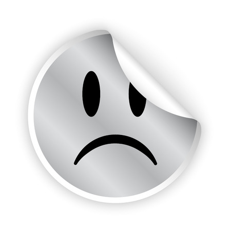 vector silver bent sticker with sad face