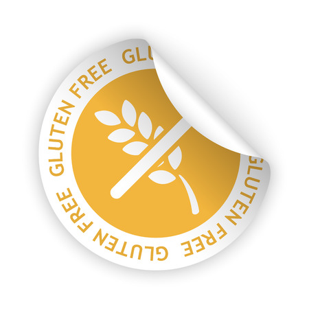 harmless: vector white bent sticker with symbol of gluten free
