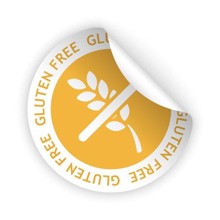vector witte gebogen sticker met symbool van glutenvrije Stock Illustratie