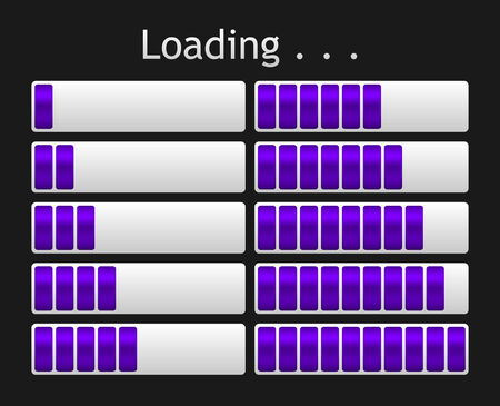indicate: vector purple loading bar indicate procedure of load Illustration