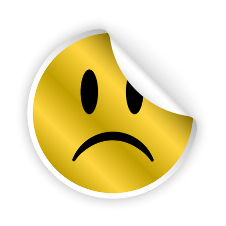 gloomy: vector gold bent sticker with sad face Illustration