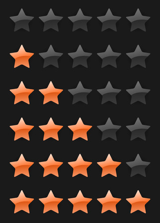 set of vector rating stars on the dark background Vector