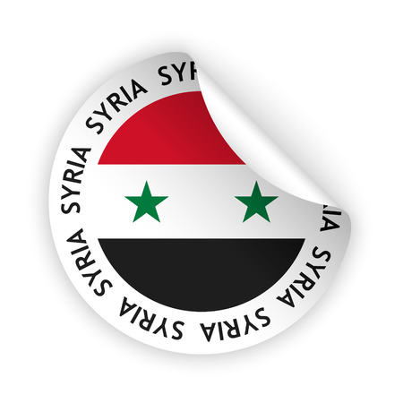 vector white bent sticker with flag of the syria