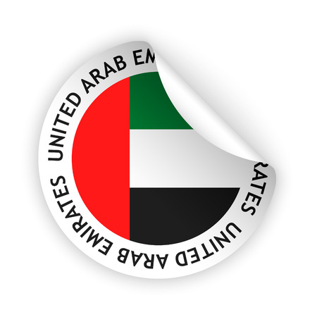 Vector white bent sticker with flag of the united arab emirates stock vector 30524062