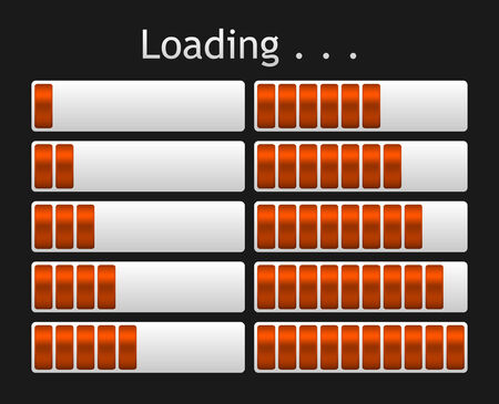 indicate: vector orange loading bar indicate procedure of load