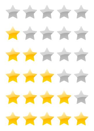 set of vector rating stars on the white background Vektorové ilustrace