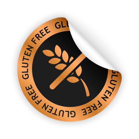 vector white bent sticker with symbol of gluten free Vector