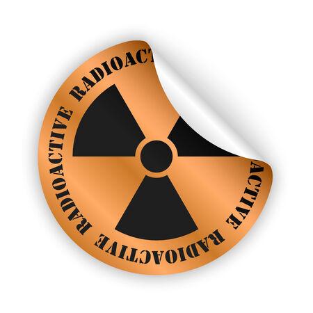 radioactive sign: vector de bronce etiqueta doblada con la muestra radiactiva negro