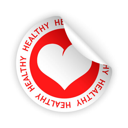 harmless: vector white bent sticker with symbol of healthy product Illustration