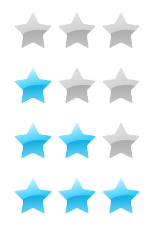 set of vector blue rating stars on the white background Vector