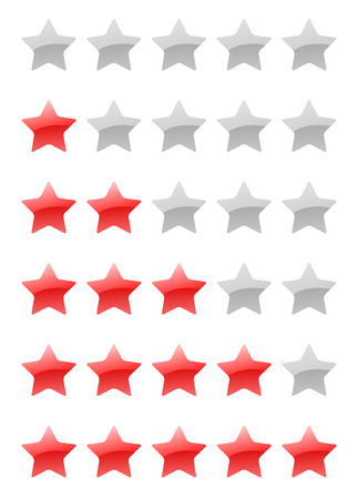 set of vector red rating stars on the white background Vector