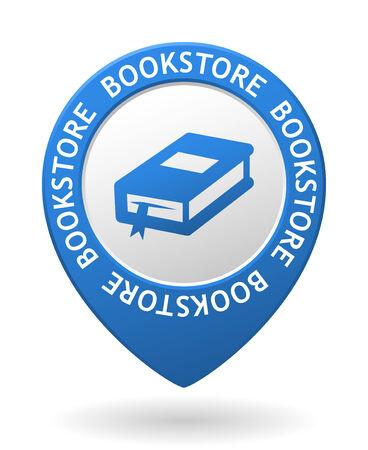 buchhandlung: Vektor blaue Kartenzeiger mit Buchhandlung Symbol