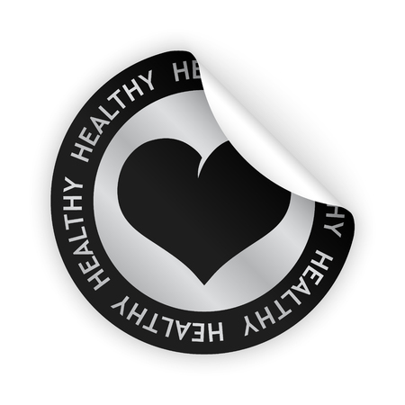product healthy: vettore adesivo piegato con il simbolo di prodotto sano