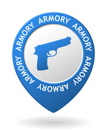 armory: vector blue map pointer with armory icon Illustration