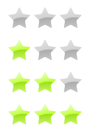 set of vector green rating stars on the white background Vector