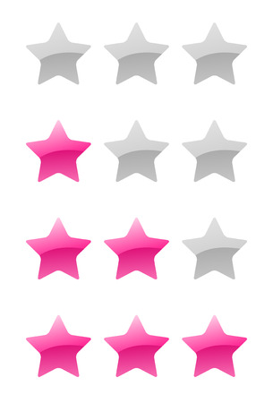 set of vector pink rating stars on the white background Vector