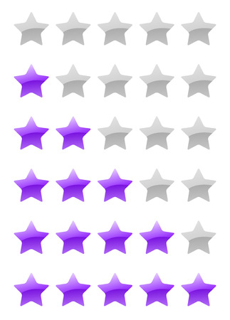 set of vector purple rating stars on the white background Vector