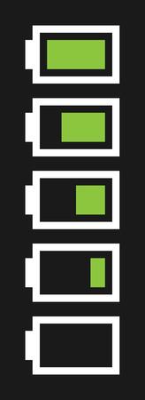 fullness: vector five battery fullness indicator with dark background