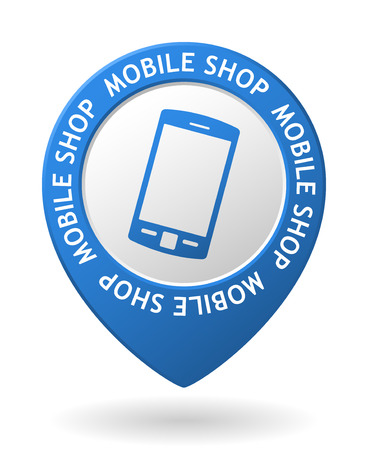 telecomunication: vector blue map pointer with mobile shop icon Illustration
