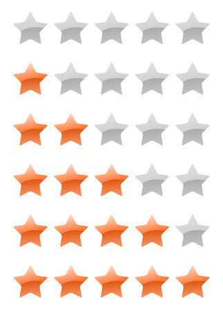set of vector orange rating stars on the white background Vector