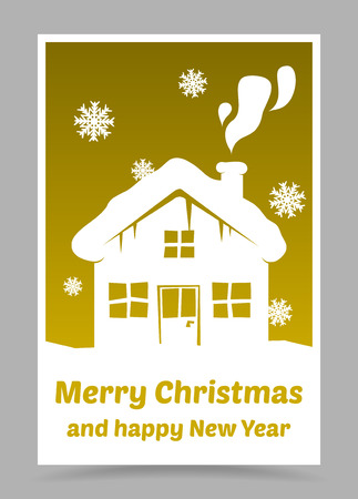 xmass: vector gold christmas card with christmas elements