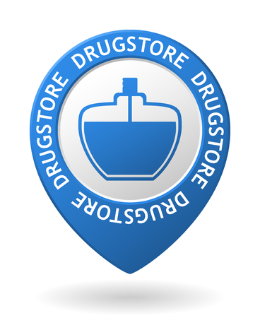vector blue map pointer with drugstore icon