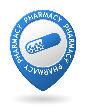 vector blue map pointer with pharmacy icon