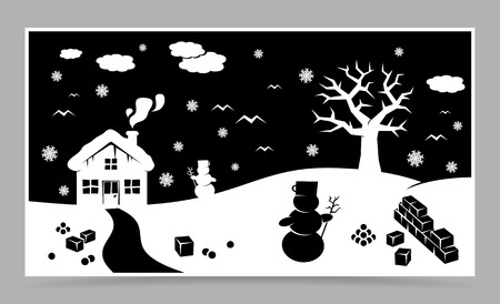 xmass: vector blue christmas card with christmas landscape