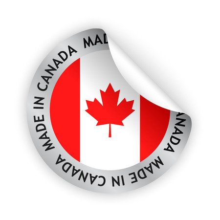 canada flag: vector white bent sticker with flag of the canada and sign made in canada
