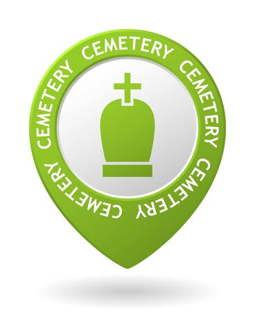 churchyard: vector green map pointer with cemetery icon Illustration
