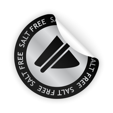salt free: vector white bent sticker with symbol of salt free