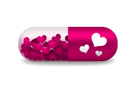 light shadow: vector pink and white pill of love with light shadow