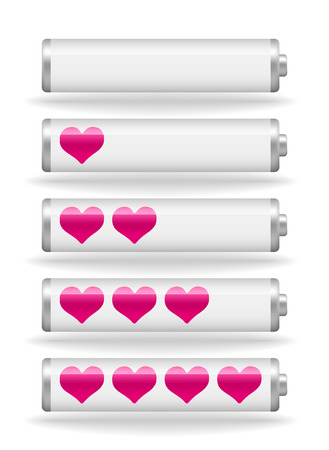 fullness: set of vector glossy love battery fullness indicator with light shadow Illustration