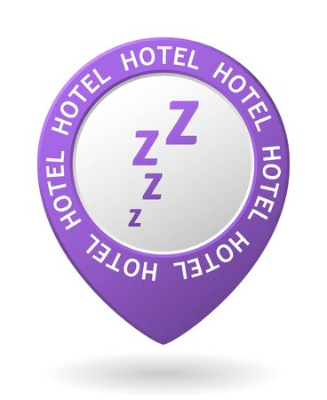 attentive: vector purple map pointer with hotel icon