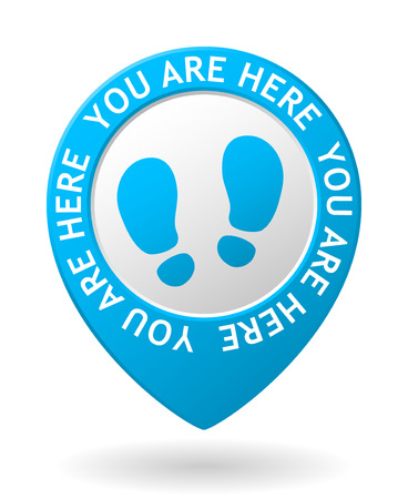 vector blue map pointer with you are here icon