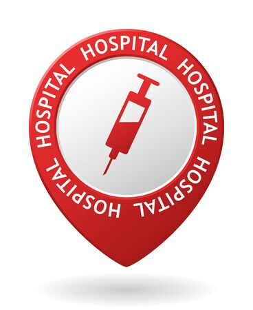 infirmary: vector red map pointer with hospital icon
