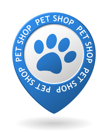 pet store advertising: vector blue map pointer with pet shop icon