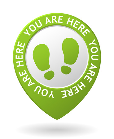 vector green map pointer with you are here icon
