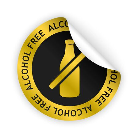 harmless: vector white bent sticker with symbol of alcohol free