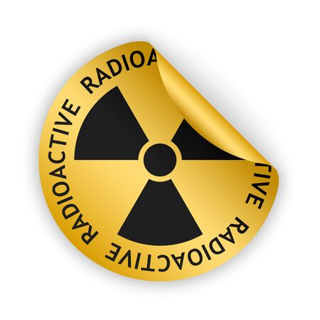 radioactive sign: vector gold bent sticker with black radioactive sign