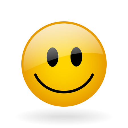 vector glass button with symbol of smiling face